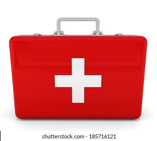 First aid kit. 3d illustration on white background