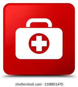 First aid kit bag icon isolated on red square button abstract illustration