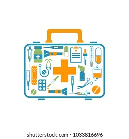 First aid kit box concept medical equipment and medications. Logo healthcare.