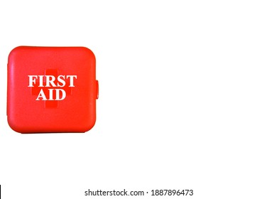 first aid kit box isolated on white