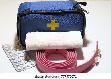 First aid kit for first aid in case of trauma, tourniquet for stopping bleeding, bandage for bandaging.