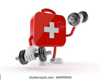 First aid kit character with dumbbell isolated on white background. 3d illustration
