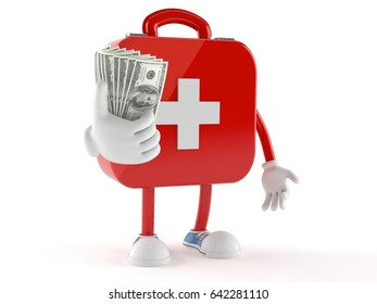 First aid kit character with money isolated on white background. 3d illustration