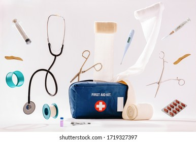 First aid kit content isolated on white background.