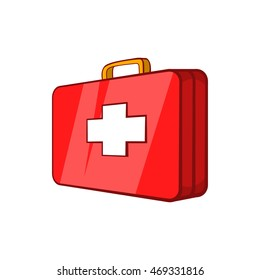 First aid kit icon in cartoon style on a white background