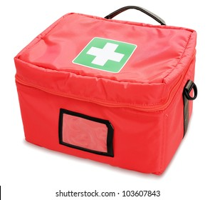 First aid kit isolated against white background