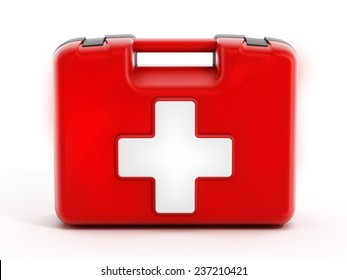 First aid kit isolated on white background.