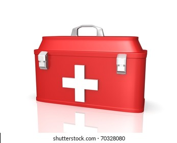 first aid kit old style 3d render
