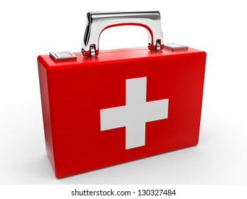 First aid kit on white background. 3D illustration.