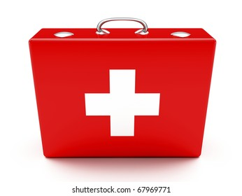 First aid kit. Red suitcase isolated on white background.