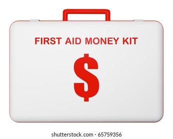 First aid money (dollar) kit illustration on isolated background.
