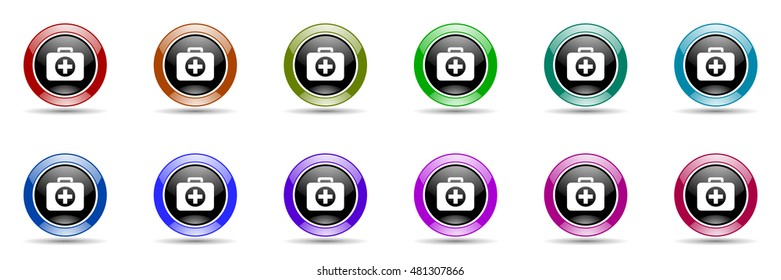 first aid round glossy colorful web icon set