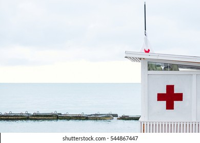 first aid station on the beach