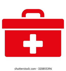 First Aid Toolbox glyph icon. Style is flat symbol, red color, rounded angles, white background.