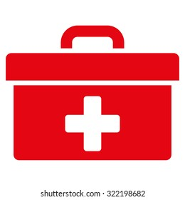First Aid Toolbox raster icon. Style is flat symbol, red color, rounded angles, white background.