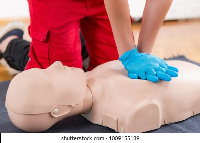 First Aid Training - Cardiopulmonary resuscitation. First aid course on cpr dummy.