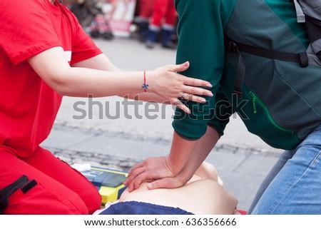6c821f0b5a First Aid Training Cardiopulmonary Resuscitation CPR Stock Photo ...
