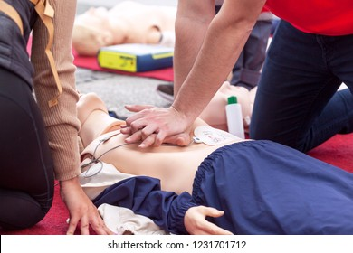 First aid training using automated external defibrillator device - AED