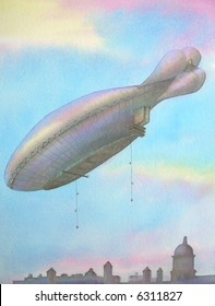 "First Air Dirigible, over London City, Great Britain # 95-031; 28x43 cm. = 11""x17"""