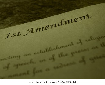 First Amendmend text of the US Constitution on old parchment paper