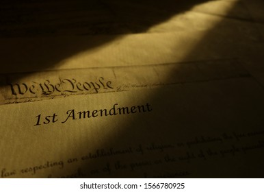 First Amendment text from the US Constitution -- Freedom of Speech , Religion and the Press concept