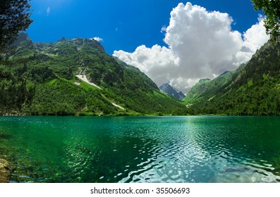 First Badukskoe Lake in Caucasus. Dombai, Russia.