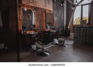 first barbershop in Ivano-Frankivsk, Ukraine. interior photos 17.05.2018