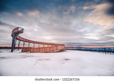First barrier-free in lookout (watchtower) in Czech Republic called Stezka nad vinohrady (The walk above the vineyards) near Kobylí, South Moravia during sunset.