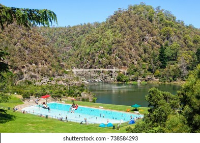 The First Basin in the Cataract Gorge Reserve features a swimming pool, a chairlift and a footbridge - Launceston, Tasmania, Australia, 1 February 2014