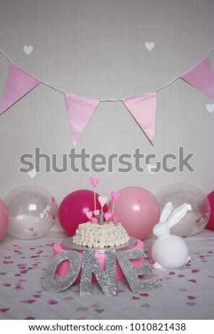 First Birthday Cake Balloons White Bunny Stock Photo Edit Now
