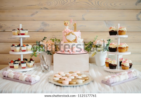 Super First Birthday Cake Girl Details Decoration Stock Photo Edit Now Funny Birthday Cards Online Sheoxdamsfinfo