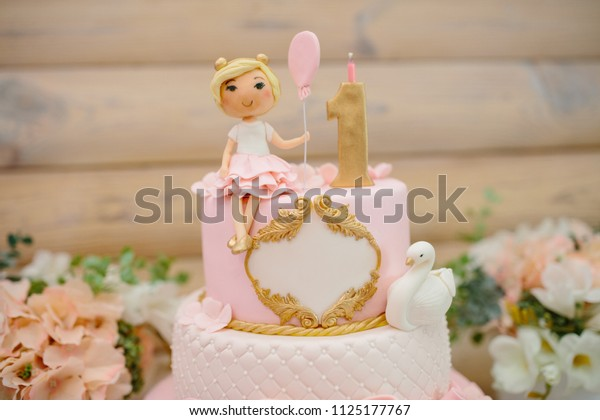 Terrific First Birthday Cake Girl Details Decoration Stock Photo Edit Now Funny Birthday Cards Online Inifodamsfinfo