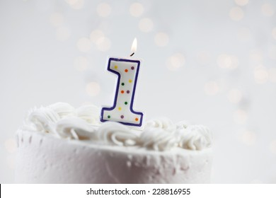 First Birthday Cake With Glowing Background