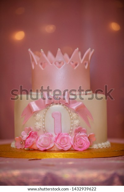Swell First Birthday Cake Pink Colored One Stock Photo Edit Now 1432939622 Funny Birthday Cards Online Elaedamsfinfo