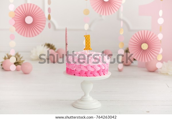 Phenomenal First Birthday Pink Cake Decorations Cake Stock Photo Edit Now Funny Birthday Cards Online Alyptdamsfinfo