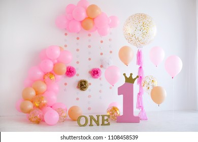 First birthday. Pink decor