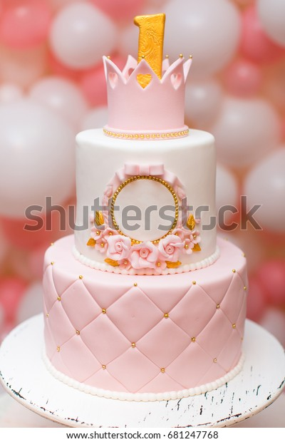 Superb First Birthday Princess Cake Crown On Stock Photo Edit Now 681247768 Personalised Birthday Cards Veneteletsinfo