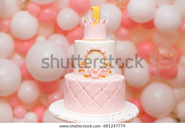 Miraculous First Birthday Princess Cake Crown On Stock Photo Edit Now 681247774 Funny Birthday Cards Online Inifodamsfinfo
