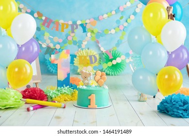 First birthday smash the cake. Festive background decoration for birthday with cake, Cake Smash first year concept. birthday greetings. colorful ballons. Concept artist