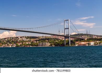 First Bosporus Bridge connecting Europe and Asia, Outdoor Istanbul city. Turkey landmark