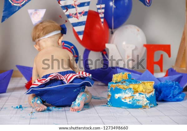 First Cake One Year Old Child Stock Photo Edit Now 1273498660