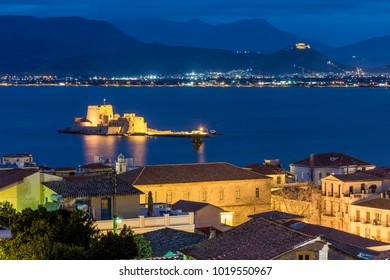 The first capital of Greece Nafplio city from above at sunset