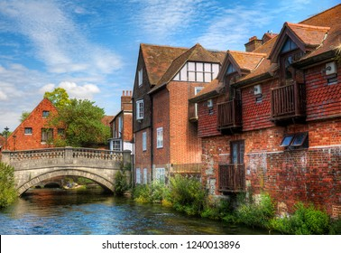 The First City Bridge, Called the Soke Bridge, Crossing the River Itchen in Winchester, England, Built by St Swithun