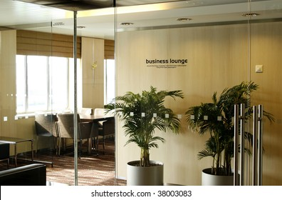 First Class Business Lounge area in the airport, entrance to it