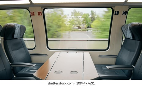 First class compartment in a moving high speed train