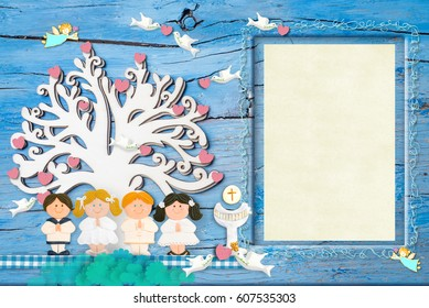 first communion photo frame invitations group of children praying under a cute tree chalice
