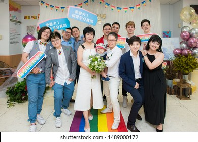 Taiwanbecame the first country to legalize same-sexmarriageinAsiaon May24, 2019. Several couples registered at the Household Registration Office in Xinxing Dist in Kaohsiung City.