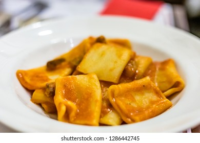 First course in Italian Restaurant, Rigatoni with Amatriciana sauce