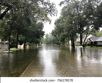First day of Hurricane Harvey 2017 flooding in North Hill Estates off East Cypresswood in Spring Texas, a couple miles north of Houston.