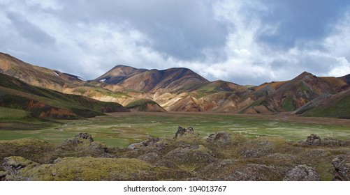 First day of the Laugavegur hike in Iceland, rhyolite  hills